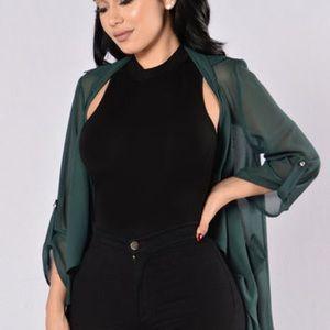 Hunter green blazer FashionNova